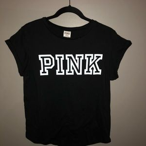 PINK Victoria's Secret Tops - Pink basic black Tee